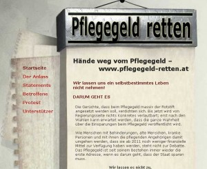 Screenshot der Website zur Aktion Rettete das Pflegegeld