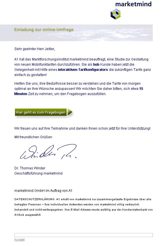 Screenshot: Einladung zur Teilnahme an einer Umfrage von MarketMind