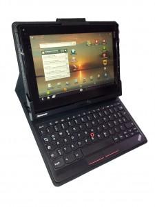 Thinkpad Tablet Folie aufgestellt