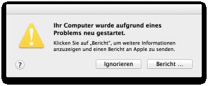 ScreenShot: Mac Fehlermeldung nach Systemabsturz