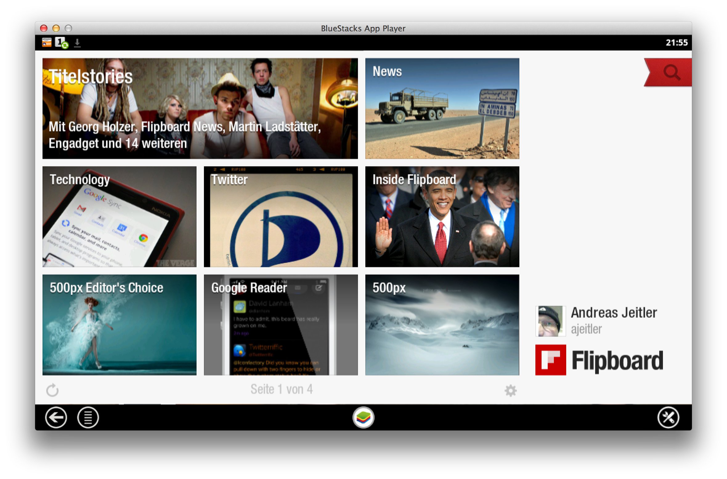 ScreenShot: Flipboard am Mac
